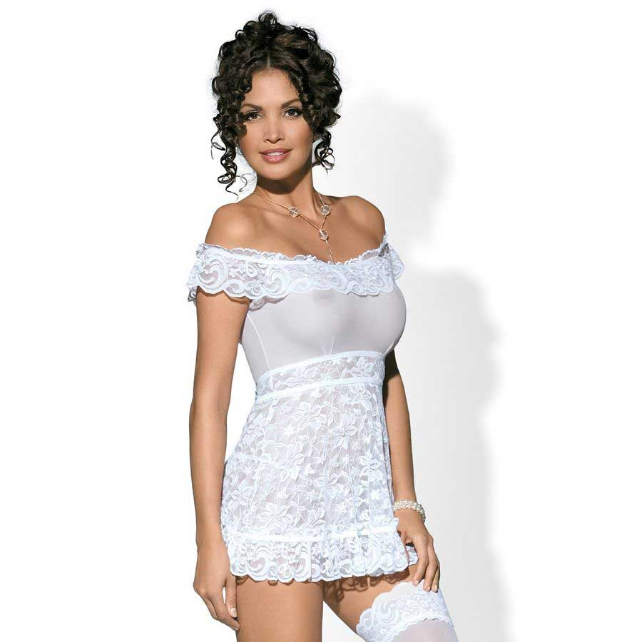 OBSESSIVE FLORES BABYDOLL BLANCO S/M